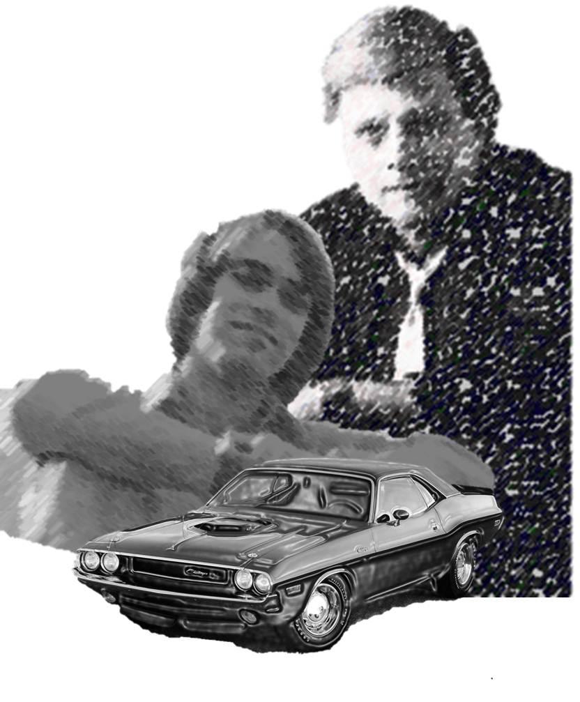 Harlan Ellison, Ric Bretschneider, and a 1970 Dodge Challenger