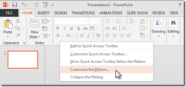 right click taskbar and select Customize the Ribbon